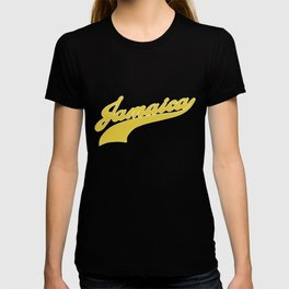 amaica Ladies Jamaica Script Font Baseball Style Text Design Jamaican Pride Junior and Women_s Jamai T-shirt