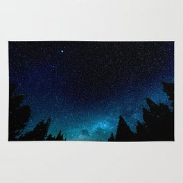 Black Trees Turquoise Milky Way Stars Rug
