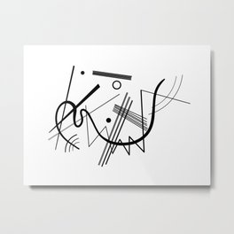 Kandinsky - Black and White Abstract Art Metal Print
