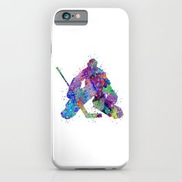 Boy Ice Hockey Goalie 2 Colorful Gift Watercolor Sports Art iPhone Case