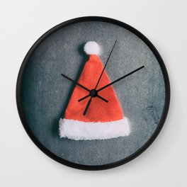 Santa Hat For Christmas On Grunge Background Wall Clock