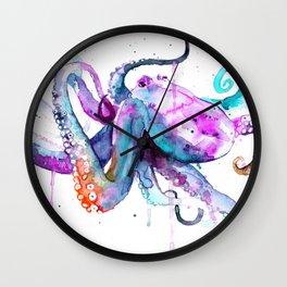Octopus Watercolor Art Wall Clock