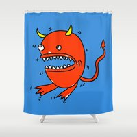diablo Shower Curtains featuring Huevo diablo by sitnuna