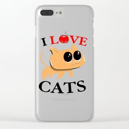 I Love Cats Clear iPhone Case