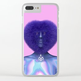 Furry Heart Head Clear iPhone Case