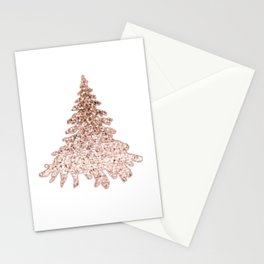 Sparkling christmas tree rose gold ombre Stationery Cards