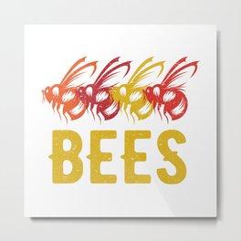 Retro Bees Metal Print