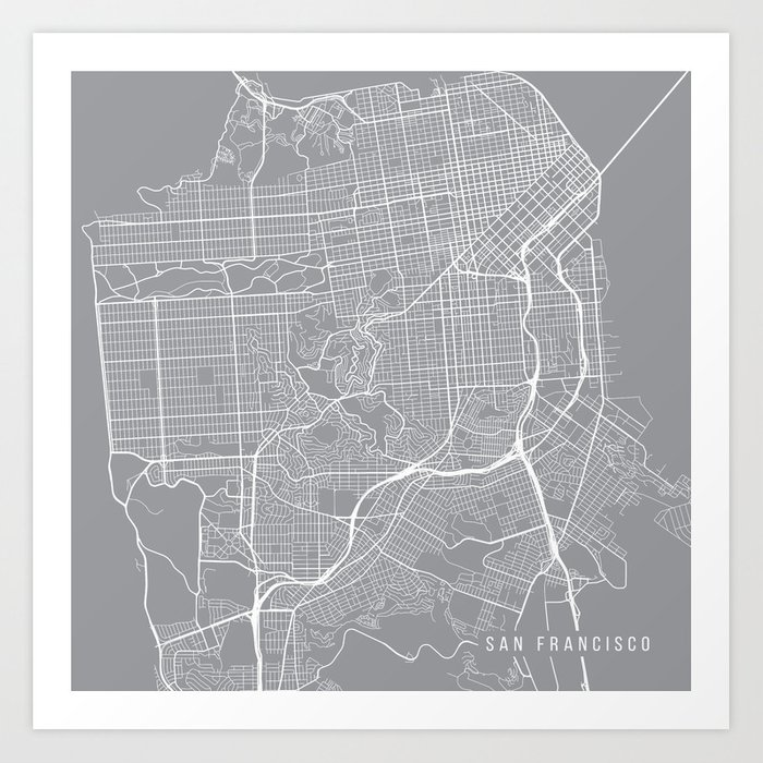 image relating to San Francisco Maps Printable known as San Francisco Map, California United states - Pewter Artwork Print as a result of mainstreetmapscolor