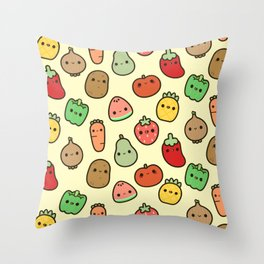 Cute fruit and veg Throw Pillow