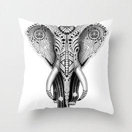 White Elefunk Throw Pillow