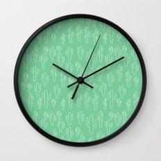 Mint Green Cactus Pattern Wall Clock