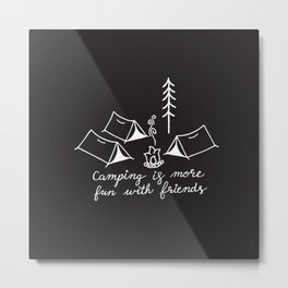 Camping with Friends in White Metal Print