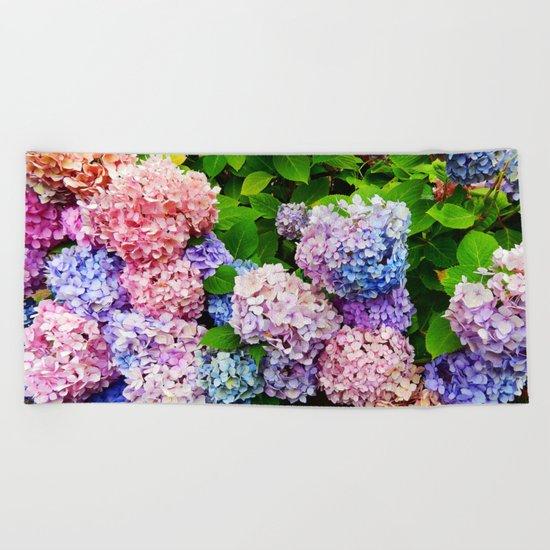 Rainbow of Flowers Beach Towel