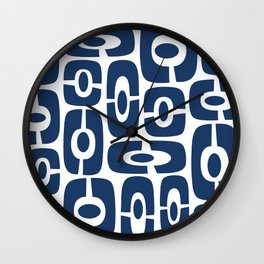 Mid Century Modern Cosmic Abstract 241 Navy Blue Wall Clock