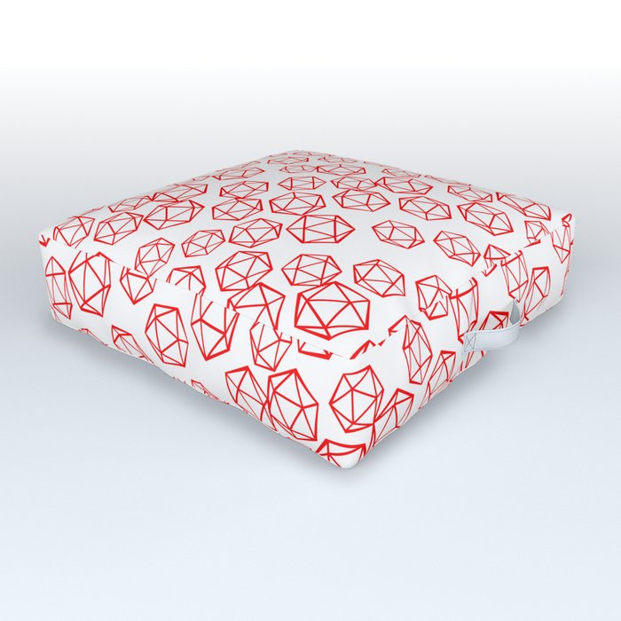 D20 Pattern - Red Outdoor Floor Cushion
