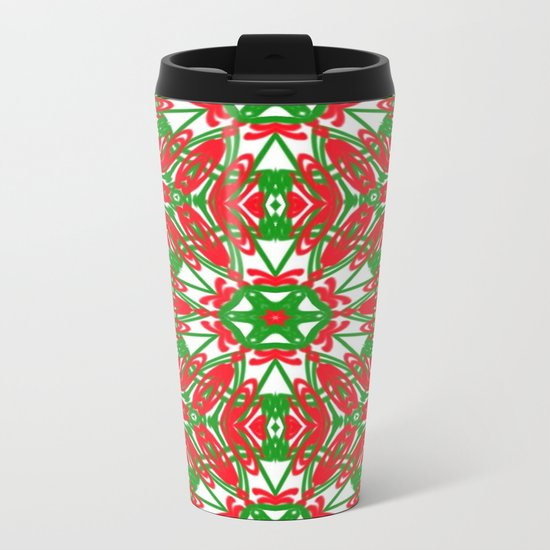 Red, Green and White Kaleidoscope 3376 Metal Travel Mug