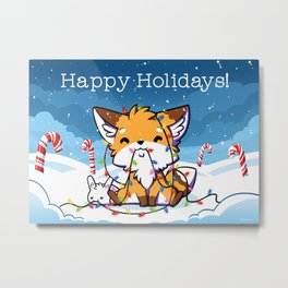 Happy Holidays From Little Fox And Bun Metal Print
