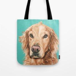 Handsome Golden Retriever Painting, Golden Retriever Portrait, Stately Golden Retriever Dog Art Tote Bag