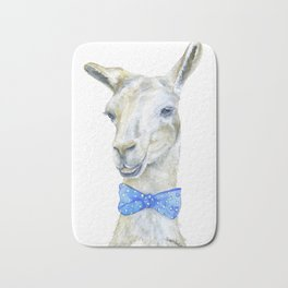 Llama with a Bow Tie Watercolor Bath Mat