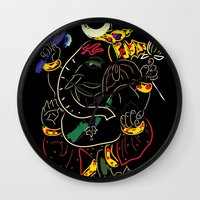 ganesha Wall Clocks featuring Ganesha by Ghavuri Kumar