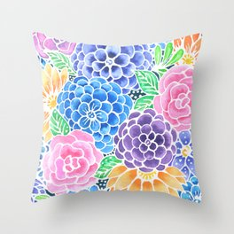 Masked Flora Collection Bloom Throw Pillow