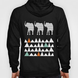 Tribal Elephants, Aztec Andes Pattern Hoody