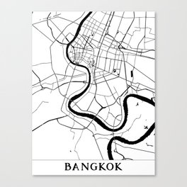 Bangkok Thailand Minimal Street Map Canvas Print