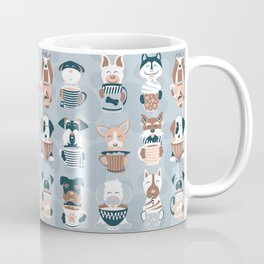 Doggie Coffee and Tea Time I // blue grey Coffee Mug