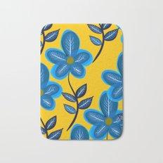 Blue Flowers and Yellow Pattern Bath Mat