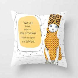 Leo Cat - North-East Throw Pillow