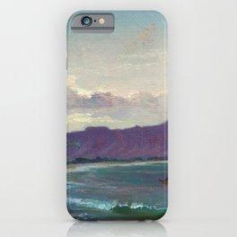 Diamond Head, Waikiki Beach, and Helumoa, Hawaii landscape painting by Charles Furneaux iPhone Case