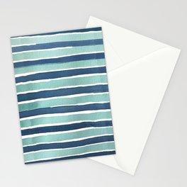 Aqua Teal Stripe Stationery Cards