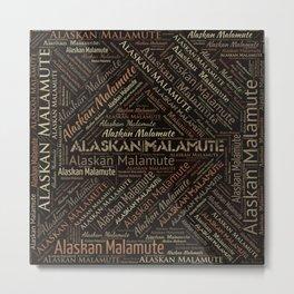 Alaskan Malamute dog Word Art Metal Print