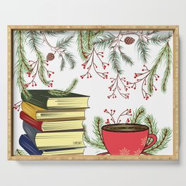 Winter Books and Tea Serving Tray