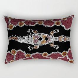 Crocodile - Authentic Aboriginal Art Rectangular Pillow