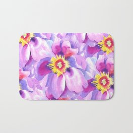Hand painted lavender pink yellow watercolor floral pattern Bath Mat