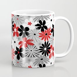 Funky Flowers in Red, Gray, Black and White Coffee Mug