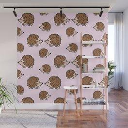 Cute little brown hedgehogs in pink love Wall Mural