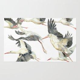 Storks Flying Away, The Last Day of Summer, Flock of Birds Rug