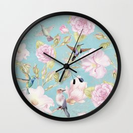 Pastel Teal Vintage Roses and Hummingbird Pattern Wall Clock
