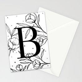 Black Letter B Monogram / Initial Botanical Illustration Stationery Cards