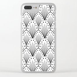 linocut 20s art deco pattern minimal black and white printmaking art Clear iPhone Case