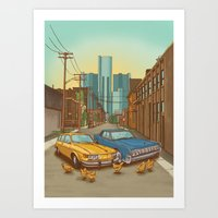 detroit Art Prints featuring Detroit by Cait Maloney Creative