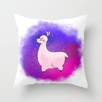 alpaca Throw Pillows featuring Alpaca by Eriboo