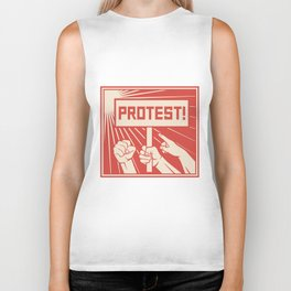 protest design - lots of furious people (man holding transparent, demonstrations) Biker Tank