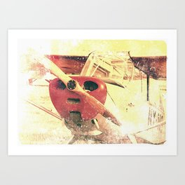 Little Red Biplane // Airplane Art Print
