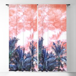 Surreal Wild and Free Palm Trees - Coral & Blue Blackout Curtain