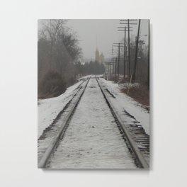 Winter Tracks Into Town Metal Print