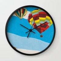 hot air balloons Wall Clocks featuring Three Hot Air Balloons by Shelley Chandelier
