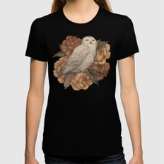 Snowy Owl Womens Fitted Tee Black MEDIUM